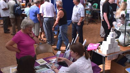 Hitchin History Day at Church House: Brigid Howlett (pink top) and Marion Hills of Herts Archives an