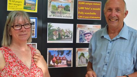 Hitchin History Day at Church House: Philip Wray and Penny Causer at the Preston display