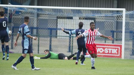 Dipo Akinyemi celebrates his opener. Picture by Paul Sanwell/OP Photographic