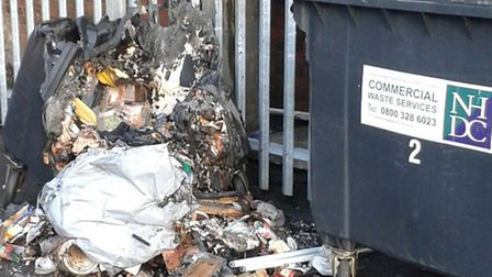Commercial refuse bin in Hitchin wrecked by arson attack