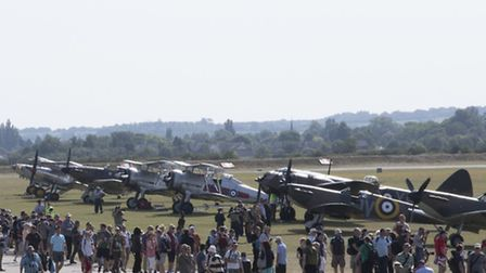 Crowds enjoy the Flying Legends Air Show
