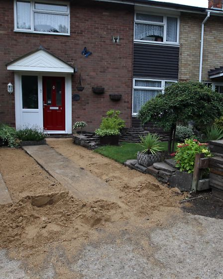 The driveway which has been left by the builders