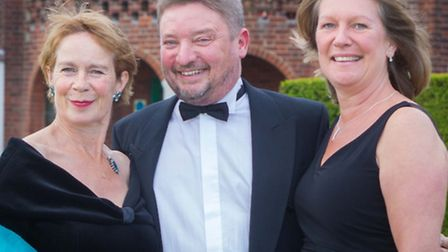 Celia Imrie with school head Richard Palmer and his wife Jenny Palmer at the celebration ball to mar