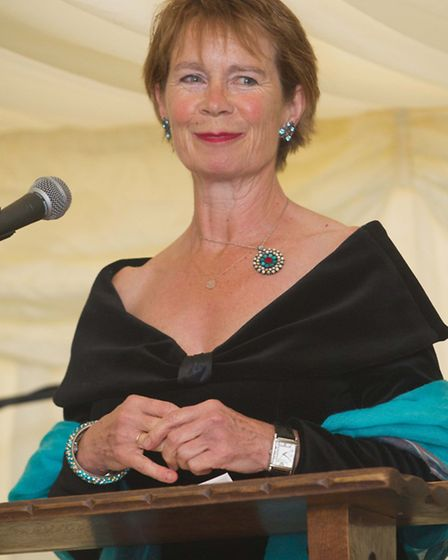 Celia Imrie addresses guests at the centenary ball, St Christopher School, Letchworth