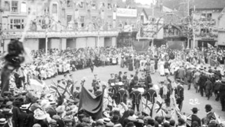 Hitchin Band play at coronation celebrations in 1911