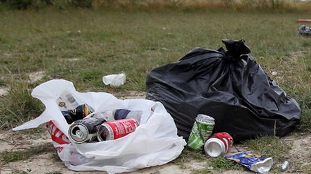 Rubbish left at the site of an Illegal rave in Ashwell