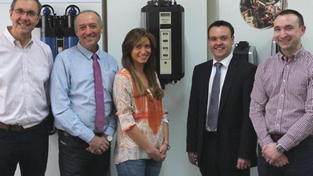 Stevenage MP Stephen McPartland meets Elecro's Simon Scott, Roland May, Emily May and Clive Flood.