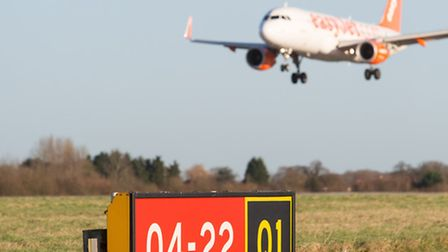 Easyjet plane landing at Stansted Airport