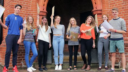 Friends' School students celebrate their GCSE results. Left to right: Laurence Ward, Rhiannon Bruce,