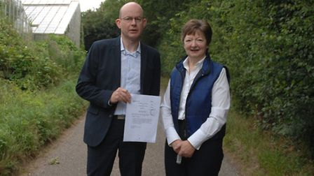 Chairman and Clerk of Newport Parish Council, Andrew Yarwood and Christine Griffiths in White Ditch