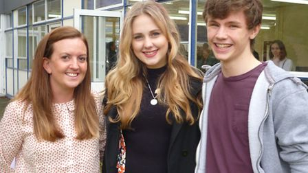 Head of music Colette Hewitson, with pupils Sara Brady and Josh Smyth.