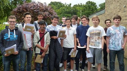 Students celebrating their results at John Henry Newman School.