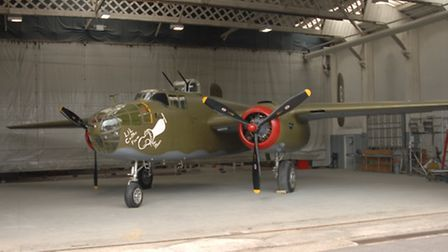The newly painted North American B-25J Mitchell bomber