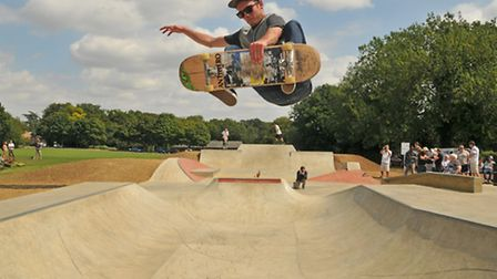 Pro skater Nic Chappell gets some air in the new skate park