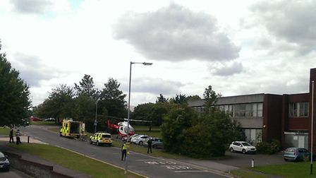 A man was airlifted to hospital this afternoon after falling 10ft from scaffolding in Letchworth. Cr