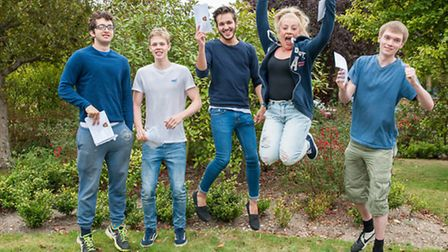 Helena Romanes students jump for joy after A-level results.