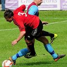 Action from Saffron Walden Town and Welwyn Garden City's 1-1 FA Cup draw. Picture: Jamie Pluck