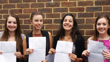 Charlotte Bott, Charlea Castle, Helena Shivji and Sophie Clempson celebrating their A-level results.