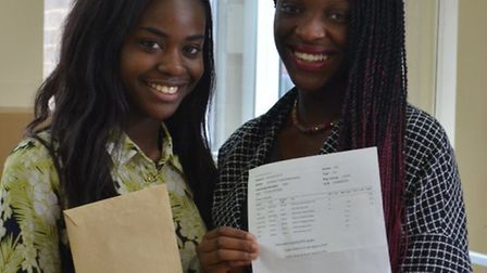 Pupils celebrating their results at John Henry Newman School.