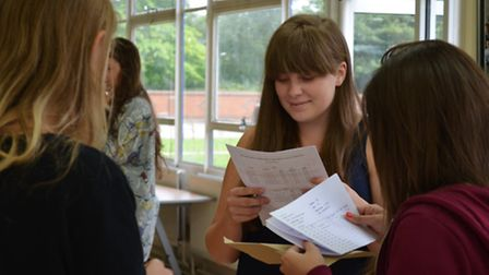 Pupils discover their results at John Henry Newman School