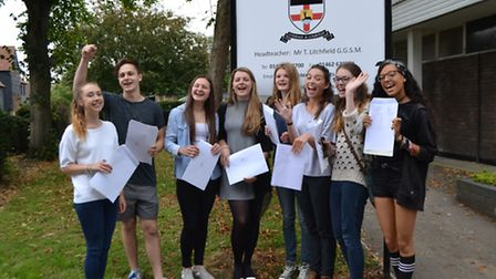 Students picking up their results at Knights Templar School this morning.