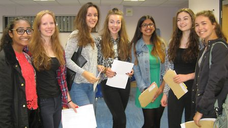 Hitchin Girls' School students with their GCSE results.
