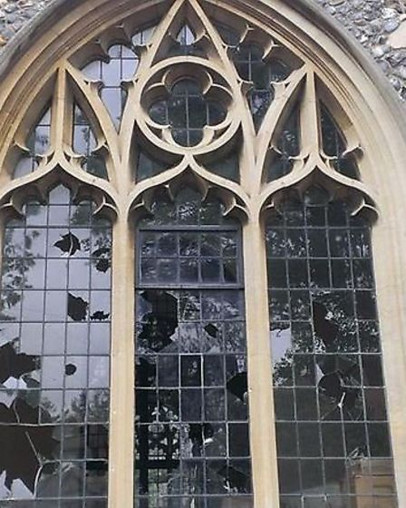 Damage to St Paul's Church in Letchworth.