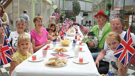 Children enjoy a tea party in Letchworth's The Arcade as part of A Day of Nostalgia.