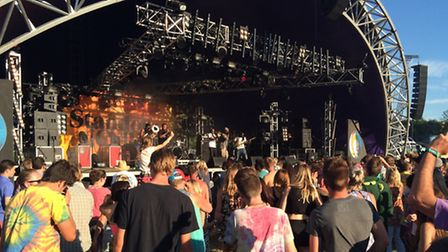Standon Calling 2015: Hypnotic Brass Ensemble perform on the Main Stage.