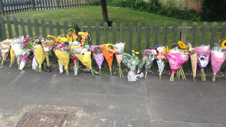 Floral tributes left at the scene of Stansted double murder