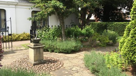 The Hitchin Physic Garden in the grounds of the town's library
