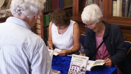 Nicky Nicoll and Carola Scupham sign copies of the new book about Hitchin Physic Garden at Eric T. M