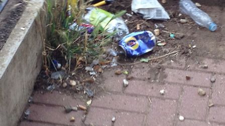 Rubbish left near to Chepstow Close park, where neighbours say is plagued with teenagers drinking an