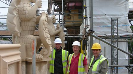 Restoration work at Knebworth House: Beautifully sculpted by Spectrum Stone of Newmarket, these beas