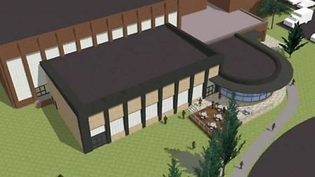 An aerial view of what the extended North Herts Leisure Centre would look like.