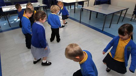 Children from Martin's Wood Primary School in Stevenage using the new interactive projector