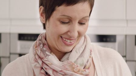 Rebecca Larter of Hitchin during filming for Macmillan's TV advert promoting the World's Biggest Cof