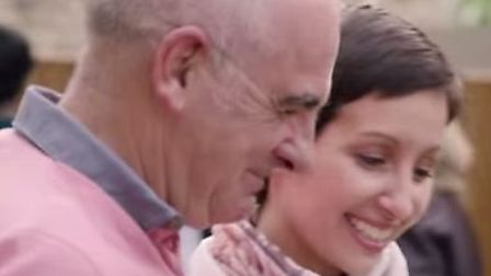 Rebecca Larter in action with her dad Roy for Macmillan's TV advert promoting the World's Biggest Co