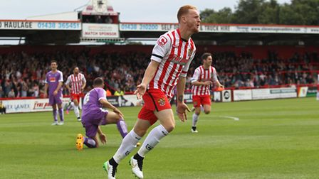 Connor Ogilvie celebrates scoring against Plymouth recently