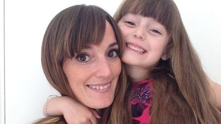 LJ Ross and her four-year-old daughter Violette who is having a charity haircut for the Little Princ