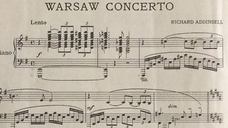 Sheet music of the Warsaw Concerto, featured in the film Dangerous Moonlight