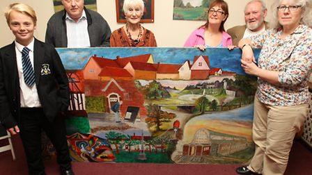 Harvey Benson who returned the stolen mural is pictured with the mural, Barry Ephgrave, (Artist), Je