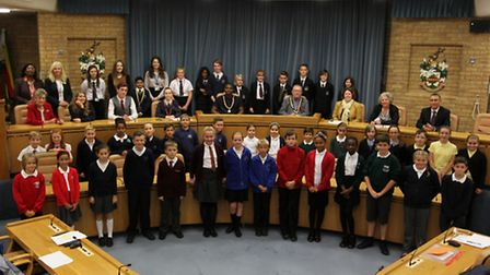 Pupils which took part in Stevenage children's parliament taking place at Stevenage Council offices