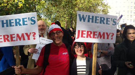 A placard at the People's Vote march questions Jeremy Corbyn's absence. Photograph: Michael Edwards.