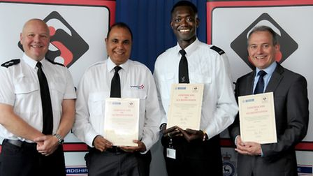 Left to right: Hardeep Singh, Anthony Secka, contract manager Mark Parker and Insp Simon Tabert.