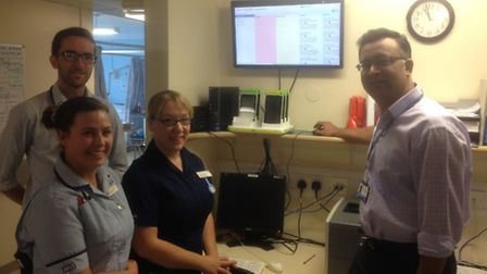 Registered nurse Emma-Louise Kent, junior doctor Joesph Newman, clinical project manager Tracy Marya