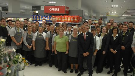 Waitrose manager Malcolm Domb with the staff at the new store