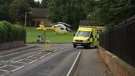 An air ambulance landed on a recreation ground in Hitchin. Picture: Jude Brooks
