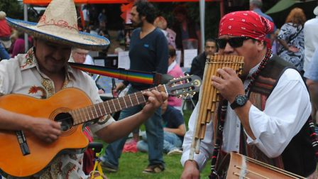 Benington Lordship chilli festival. Mexican musicians add to the spicy flabour of the day