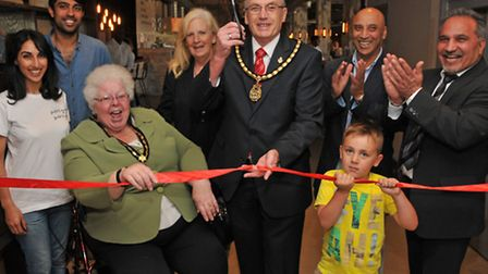 The deputy mayor and mayoress of Stevenage Cllrs Joan and John Lloyd officially open Salt and Good w
